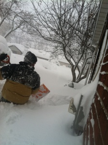 Digging out the furnace vents.